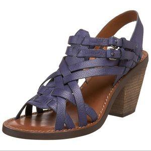 LUCKY BRAND | Blue Leather Kisa Chunk Sandal Heel